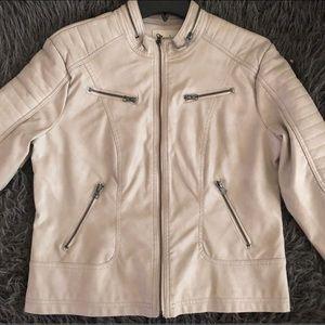 Jackets & Blazers - Large Creme Leather Jacket